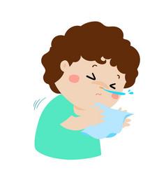 Little boy sneezing cartoon vector