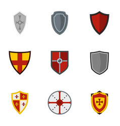 Medieval shield icons set flat style vector