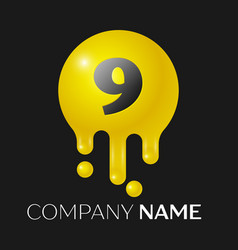 number nine splash logo yellow dots and bubbles vector image vector image
