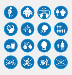 Obesity related diseases icons vector