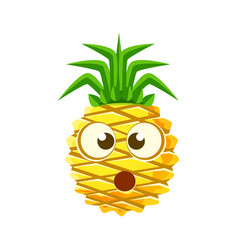 Puzzled pineapple face cute cartoon emoji vector