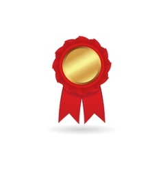 Realistic gold medal or award with red vector