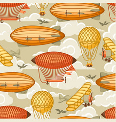 seamless pattern with retro air transport vintage vector image