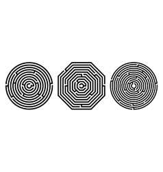 Set of 3 maze - labyrinth on white background vector image