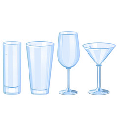set of cocktail glasses collection vector image