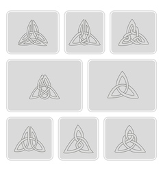 set of monochrome icons with celtic art vector image vector image