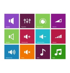 Speaker icons on color background Volume control vector image vector image