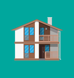 suburban family house countrysdie wooden building vector image vector image