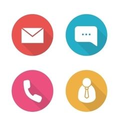 Tech support flat design icons set vector