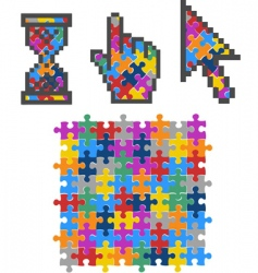vibrant color puzzles vector image