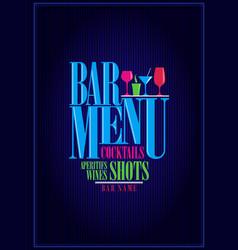 wine and cocktails bar menu design vector image
