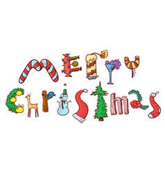 Merry christmas hand drawing lettering vector