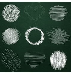 Set of hand drawn objects chalk on chalkboard vector image