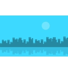 Silhouette of urban city and reflection vector