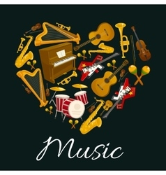 Music emblem of musical instruments in heart shape vector