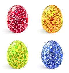 Ornate traditional easter eggs set vector