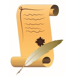 Scroll of parchment with feather ink pen vector