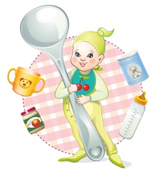 Baby with a spoon vector