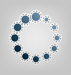 circular loading sign  blue icon with vector image