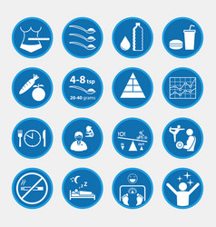 Icon set of obesity and health concept blue vector