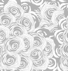 seamless monochrome pattern with roses vector image
