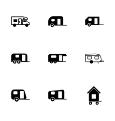 Trailer icon set vector