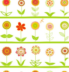 Rows of flowers seamless pattern vector