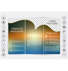 Tri-fold brochure mock up design blur background vector