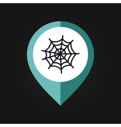 Spider web halloween mapping pin icon vector