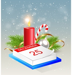 Christmas background with calendar and red candle vector