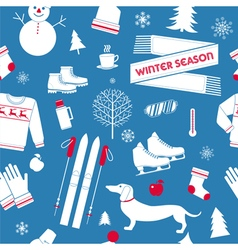Winter season seamless pattern in retro style vector