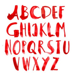 Hand painted grungy alphabet - red vector