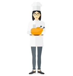 Woman holding roasted chicken vector image