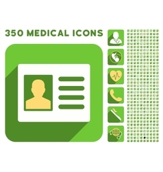 Patient account icon and medical longshadow icon vector