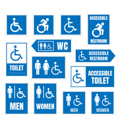 accessible toilet sign restroom signs for vector image vector image