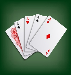 Aces poker playing cards game template vector