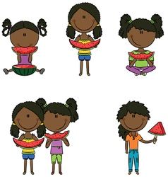 African-american girls vector