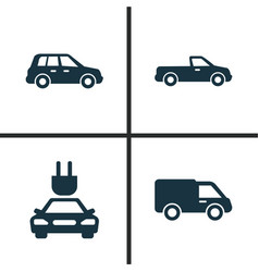 Auto icons set collection of carriage car plug vector