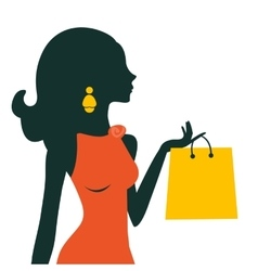 Beautiful woman shopping vector image