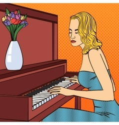 Beautiful young woman playing on piano pop art vector