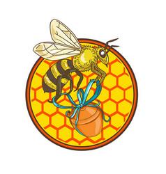 Bumblebee carrying honey pot beehive circle vector