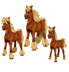 Cartoon horses on white background vector