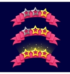 Cartoon stars rank on pink ribbon for game design vector