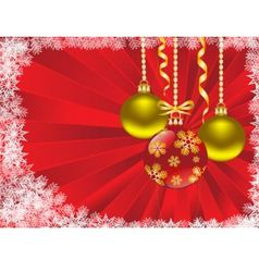 Christmas balls on a red background vector image vector image