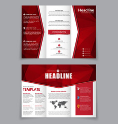 Design folding brochure with red polygonal vector