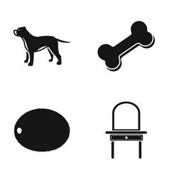 Dog bone and other web icon in black style vector