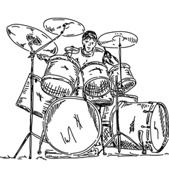 Drummer playing vector