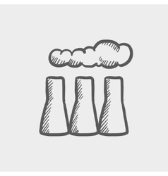 Factory pipe sketch icon vector