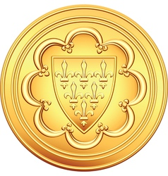 Gold coin french ecu vector