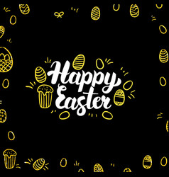 Happy easter gold black postcard vector